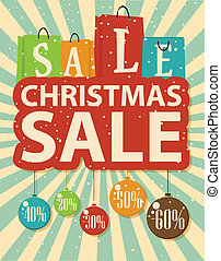 Christmas sale design with shopping - Vector Illustration of...
