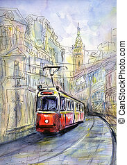 Old tram - Hand drawn watercolor illustration of old tram in...