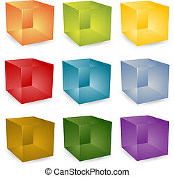 3d cubes - Blank editable 3d translucent cube icon set