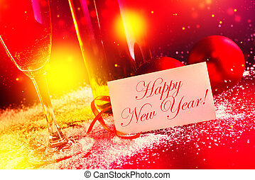Happy New Year card White wine and christmas balls with...