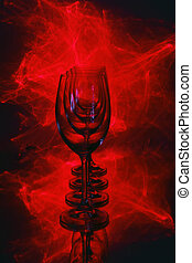 wine glass lighted laser - still-life with wine glass...