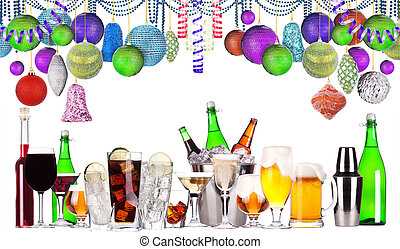 christmas alcohol drinks set - beer, wine, champagne,...