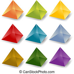 Pyramid icons - Blank editable multicolored crystal pyramid...