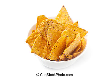 Tortilla Chips - Tortilla chips in white bowl