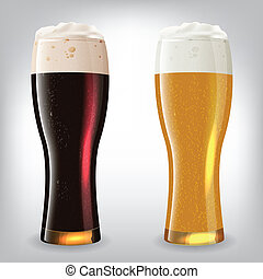 beer glasses - Dark and light beer glasses. Image contains...