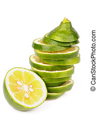 Green Lemons - Stack of Fresh Ripe Green Lemons Slices and...