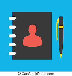 Vector Address Book and Pen Icon