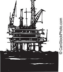 Offshore Oil Rig - Woodcut Style image of a Deep sea...