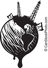 Oil World - Woodcut Style image of the earth covered in Oil...