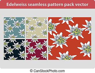 Edelweiss pattern pack - Edelweiss flower seamless pattern...