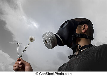 too late for a wish - man with a gas mask holding a...