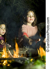 two girls at a bonfire - two girls having fun at a bonfire
