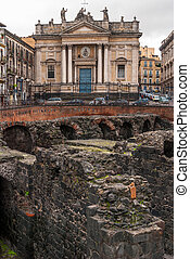 Ruin of Roman amphitheater,Catania