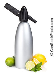 Soda siphon and citruses for home lemonade Isolated on white...