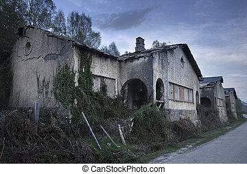 Group of spooky abandoned houses