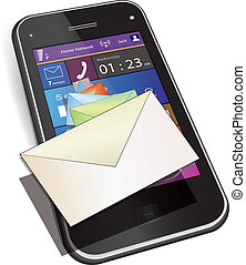 Mobile Messaging - Touch screen mobile phone. Set of letter...