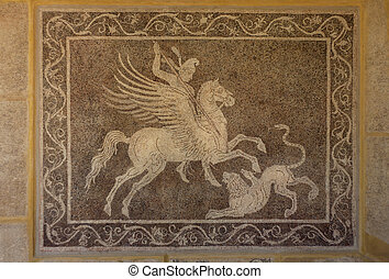 Mosaic on wall in the Archaeological museum of Rhodes Greece...