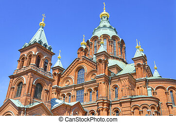 Uspenski Orthodox cathedral, famous landmark in Helsinki,...