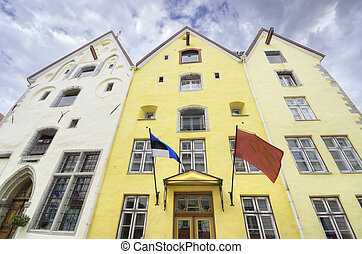 Traditional houses in the old medieval city of Tallinn,...