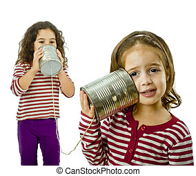 two girls talking on a tin phone