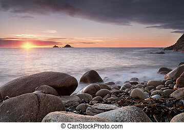 Porth Nanven Cove - Cobbles at Porth Nanven Cove in Cornwall