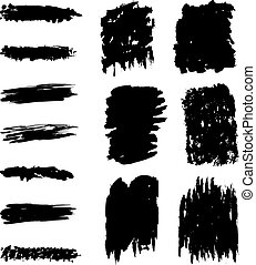 Black marks and brushstrokes - Collection of black marks and...
