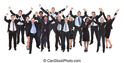 Group Of Business People Raising Arms - Happy Multi-racial...