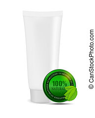 White cream tube with natural sign vector illustration