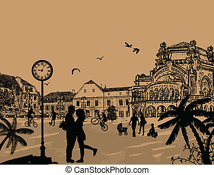 Vector design background with beautiful cityscape and people silhouette