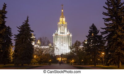 Moscow State University night hyperlapse - Moscow State...