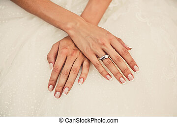 Bride's hands on a dreww - Close up of bride's hands with a...
