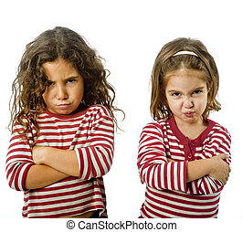 two girls in quarrel - two little girls in quarrel isolated...