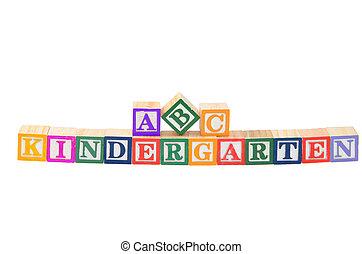 bebé, Bloques, ortografía, jardín de la...