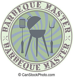 Barbeque master - Vector vintage style barbeque master badge