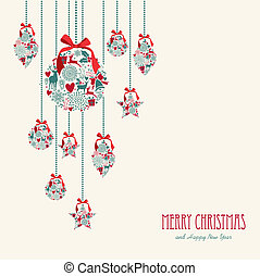 Merry Christmas hanging elements decoration composition -...