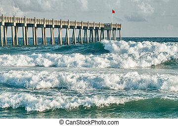 Surfs Up Pensacola Beach Fishing Pier - HIgh surf day...