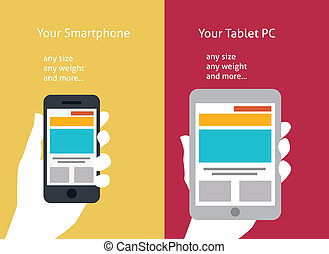 Vector illustration of smart phone and tablet flat style