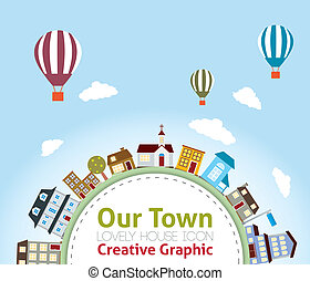 Our Town with Lovely House Icons (hot air balloon in the...