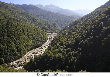 Construction of infrastructure in the Krasnaya Polyana. Caucasus Mountains.