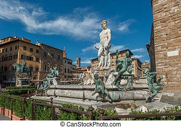 chafariz, Netuno, piazza, della, signoria, Florença