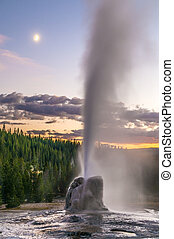 Lone Star Geyser - Spectacular Lone Star Geyser during...