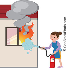 Housewife to the fire fighting