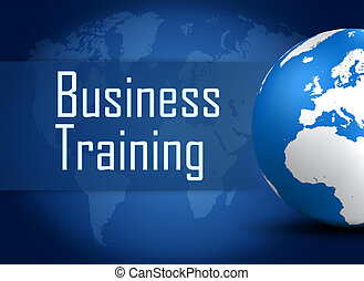 Business Training concept with globe on blue background