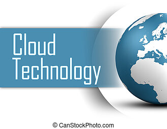 Cloud Technology concept with globe on white background