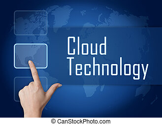 Cloud Technology concept with interface and world map on...