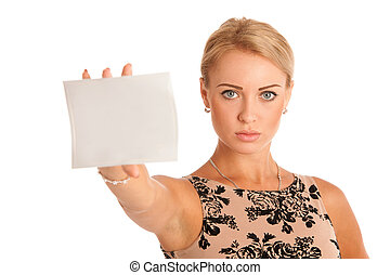Gift card. Excited woman showing empty blank paper card sign...