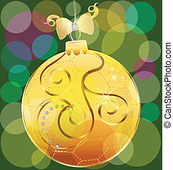 Vector of gold christmas ball