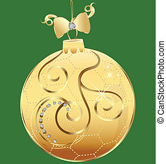 Christmas golden ball vector
