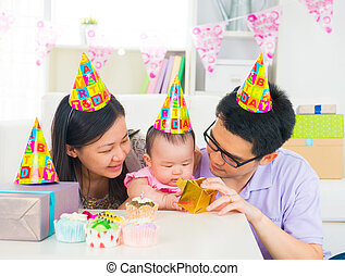 asian family celebrating baby full moon party