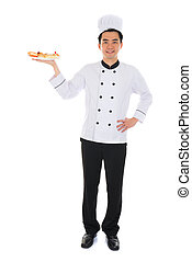 Portrait of confident male chef smiling isolated on white...